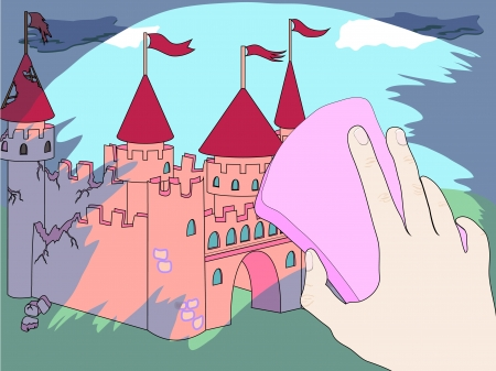 Pink castle is visible throw clean window and ruined part of castle is visible throw dirp part of glass Vector