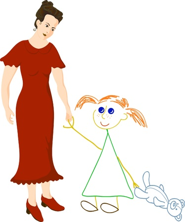 Woman in red dress dreams about little girl Vector