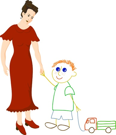 Woman in red dress dreams about little boy Vector