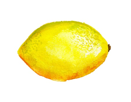 Watercolor image of lemon isolated on white background