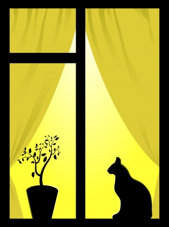 Window with yellow light, plant and cat Vector
