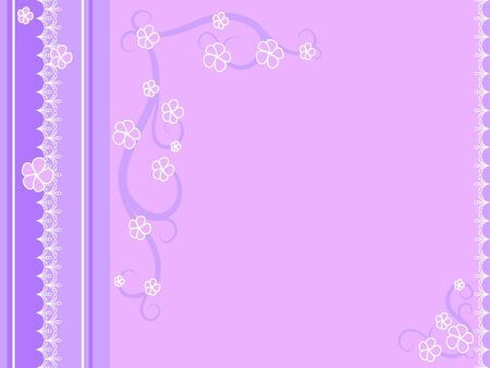 Pink background with lacy border and flowers Vector