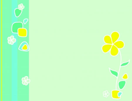 Green background with striped border and flower Vector