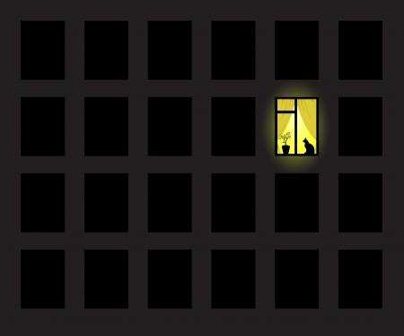 One yellow window on wall Illustration