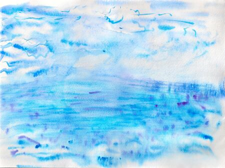 Abstract watercolor image of sea and sky photo