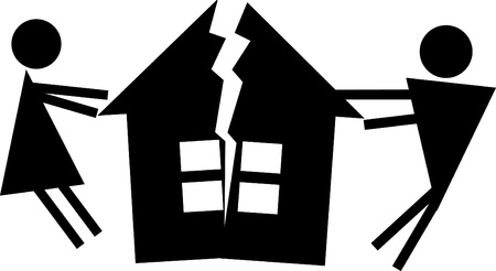 damaged roof: Man and woman halve their house. Illustration of divorce Illustration