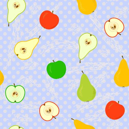Seamless With Apples And Pears With Polka Dots Vector