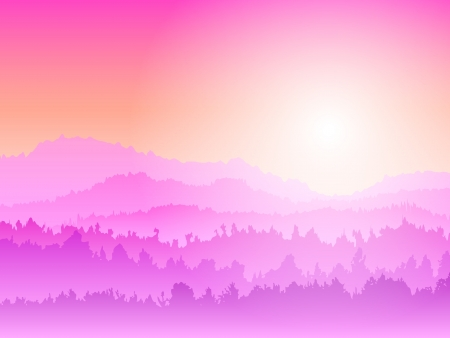 Mountain pink Sunrise Stock Vector - 17686870