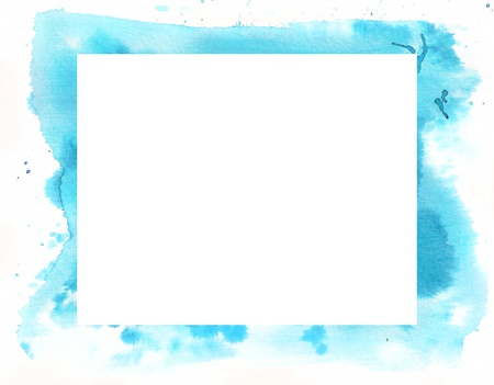 Abstract blue watercolor frame with spots and white space Stock Photo - 17847061
