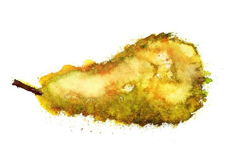 Watercolor image of grunge yellow pear on white background photo