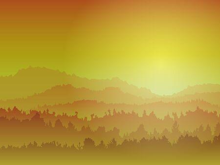 gloaming: Mountain View At Night Illustration