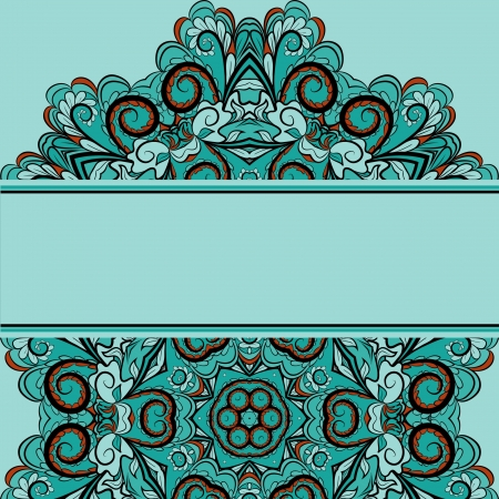 Invitation card with bright abstract design on light blue background with place for your text. Oriental motif