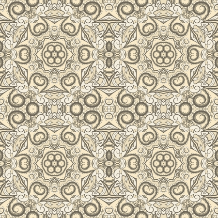 Ornamental beige seamless pattern Vector