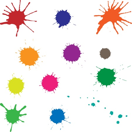 Set of ink splotches different color isolated on white background. Blobs can be used as elements of design. Illustration