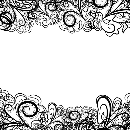 black textured background: Abstract black border like as lace against the white background. Pattern contains place for your text.