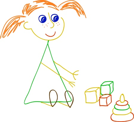 Little girl playing with bricks and pyramidion Vector