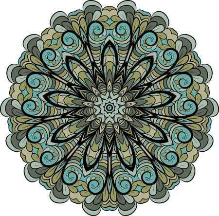 Abstract green-gray round pattern with floral elements Vector