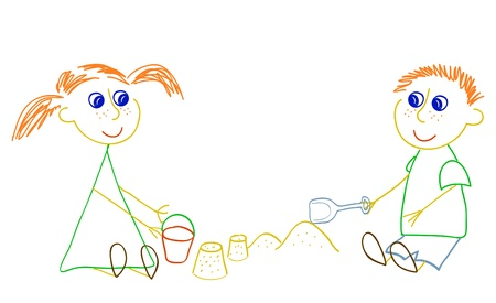 sandbox: Little girl with bucket and little boy with shovel playing with sand pies Illustration