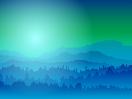 Landscape with silhouettes of mountains at night Vector