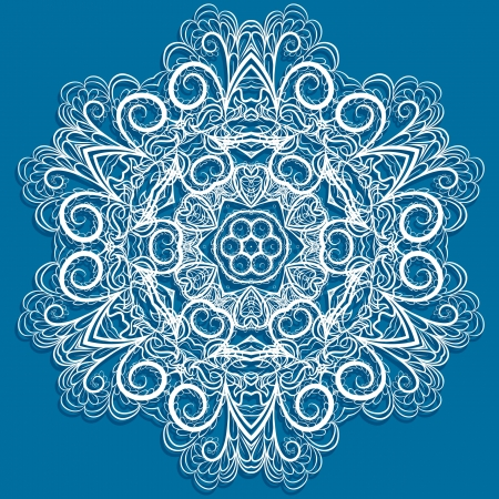 White snowflake with abstract floral pattern on blue background  Round pattern looks like crocheting  handmade lace  Vector