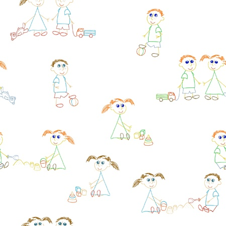 Seaamless pattern with little girsl and little boys Vector