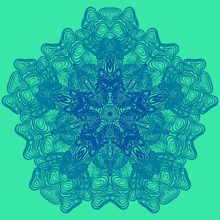 serviette: Abstract pattern like as blue crocheting serviette against light green background
