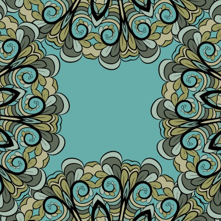 Abstract green-gray frame with floral elements and cyan background Vector