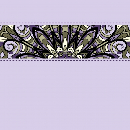 Abstract lilac pattern with stripe of ornament and decorative stitches Vector