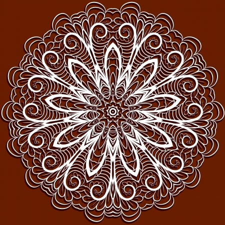 servilleta de papel: Modelo abstracto blanco como la servilleta como copo de nieve o ganchillo en fondo rojo