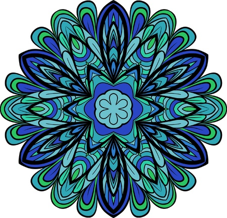 serviette: Abstract blue-green round pattern like as flower or six-rays snowflake