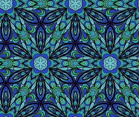 Abstract blue-green seamless pattern with elements like as flower or six-rays snowflake. Pattern can be used as wallpaper, web page background, textile design etc Vector