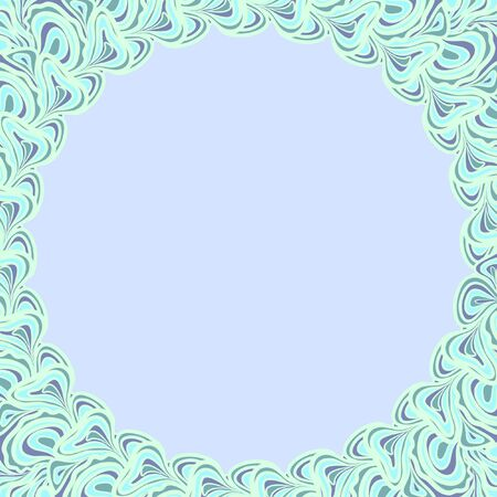 Light blue round frame with abstract floral elements against the light blue background. Vector