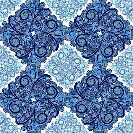 Abstract blue geometry seamless pattern with floral rhombuses.  Vector