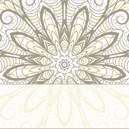 Abstract beige pattern with floral elements like as 9-rays star or snowflake with place for your text Vector