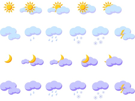 Set of weather icons for day and night Stock Vector - 19141630