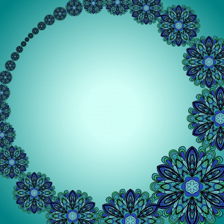 bluegreen: Abstract blue-green pattern with necklace of fantasy flowers
