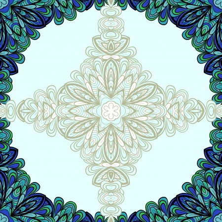 Abstract blue-green round floral frame with cross in centre Vector