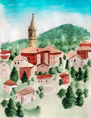 borough: Watercolor image of landscape with small italian town.
