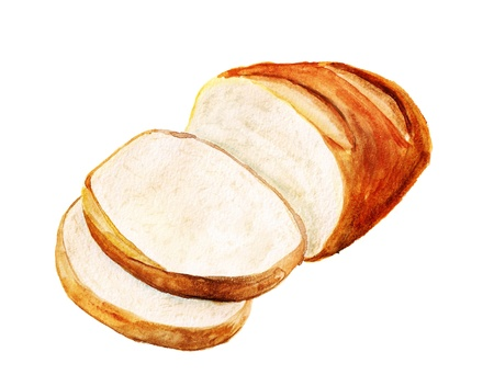 Watercolor image of white bread isolated on white background Reklamní fotografie
