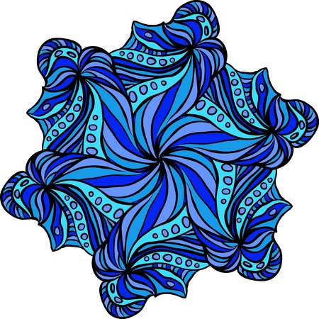 serviette: Abstract blue hexagonal pattern like as snowflake or flower