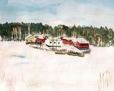 tranquil scene on urban scene: Watercolor image of winter landscape with finland village