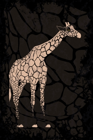 blotchy: Grunge black background with beige giraffe  Pattern can be used as wallpaper, web page background, invitation card design etc