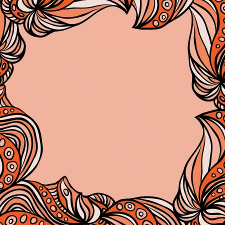 Abstract square pink-orange frame with pink background. Illustration