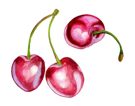 Watercolor image of three berries of sweet cherry Reklamní fotografie