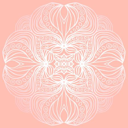 Abstract white round pattern on the pink background