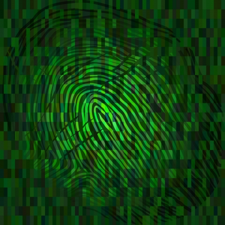 Fingerprint on green background as symbol of biometric key Vector