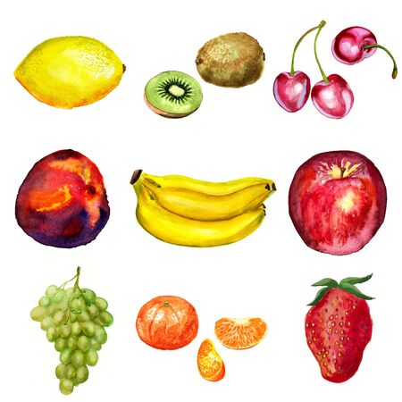 Set of watercolor fruits  lemon, kiwi, cherry, nectarin or peach, bananes, apple, grape, tangerine and strawberry