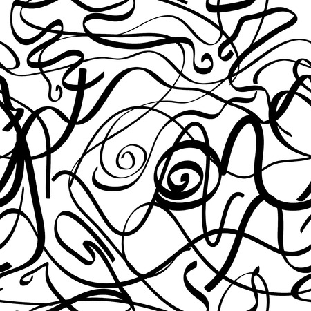 uneasy: Abstract seamless pattern with chaotic black lines