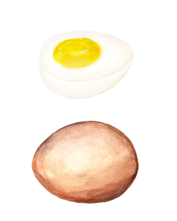 Watercolor image of egg and half of egg Stock Photo