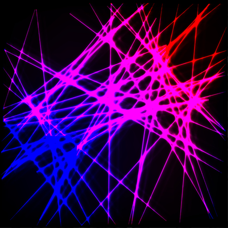 Abstract black background with chaotic neon lines